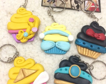 Polymer clay Disney cupcake ornaments