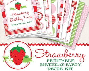 Strawberry birthday party printable decor kit - Over 45 pages of Berry Sweet printables