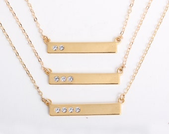 """Gold Bar Necklace with Diamond Crystals. Personalized Mother's Birthstone Necklace Engraved with """"Blessed"""".  Custom Gift for Mother's Day!"""