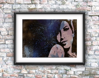 Amy Winehouse, music poster, digital art, printable art, wall decor, digital download, grunge art, street art graffiti, pop art, 27 club,
