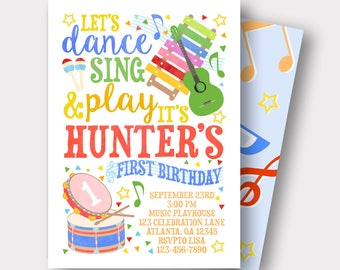 Music Birthday Invitation | Music Invitation | First Birthday | Rockstar Birthday Invitation | Rock and Roll Birthday Invitation