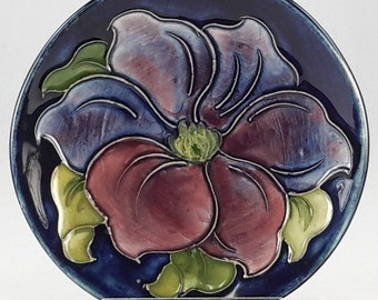 Moorcroft Bowl 4 1/2 Inch Cobalt with Blue and Mauve Flower