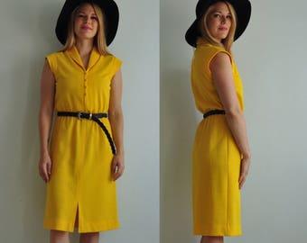 70s Knit Shirt Dress // Small Yellow // Vintage Midi Dress // 1970s // Vintage Shirt Dress // Shirtdress // Secretary Dress