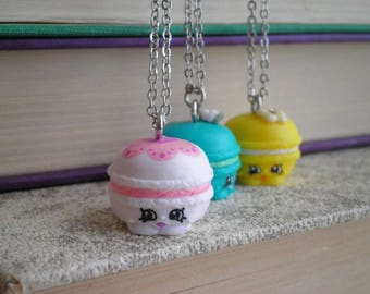 Shopkins Macaroon Charm on a Long Silver Chain - Mini Macca Roon Shopkin Necklace - Kawaii Cookie Mini Food Pendant Necklace Jewelry Gift