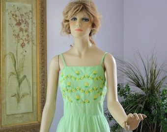 Vintage 60s Formal Dress Vicky Vaughn Long Green Sheer Cotton Dress w Embroidered Flowers