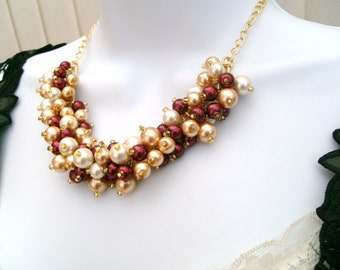 Winter Wedding Pearl Beaded Necklace, Red wine Gold and Ivory Bridesmaid Jewelry, Cluster Necklace, Bridesmaid Gift, Bridesmaid Necklace