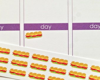 33 Mini Sandwich/Sub Stickers! Perfect for your Erin Condren Life Planner, Filofax, Plum Paper & other planner or scrapbooking!