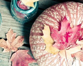Autumn Photograph - Pumpkin Photograph - Nature Photograph - Still Life - Rustic Decor - Kitchen Art - Cottage Decor - Leaf Print - October