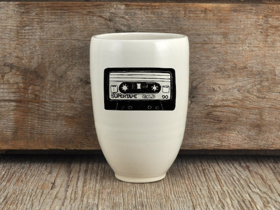 Porcelain beer tumbler with cassette tape drawing by Cindy Labrecque