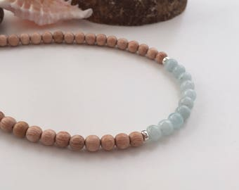 Rosewood and Aquamarine necklace, wood, March birthstone necklace, beach bridesmaid, girlfriend gift, wooden necklace, summer