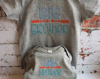 Big Brother t-shirt, little Brother bodysuit, new brother gift, gift for brothers, big brother gift, little brother gift, new baby gift