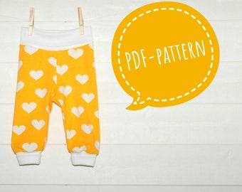 Baby Sewing Super Fast Fold Over Cuff Pants Pdf Pattern Toddler Knit Pants NB to 3 years | Sewing for Baby Easy Sewing PDF sewing pattern