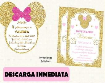 Invitation Minnie gold silhouette Minnie