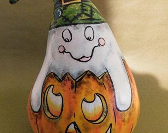 Peek A BOO! Ghost and Jack O Lantern Gourd