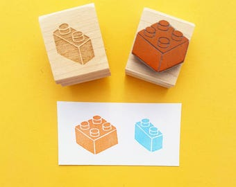 Building Blocks Rubber Stamp -  Set of 2 Bricks Rubber Stamps - Gift for Boys - Girl Present - Stocking Stuffer  - Stocking Filler - Block