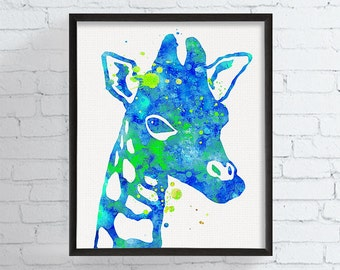 Giraffe Print, Giraffe Art, Watercolor Giraffe, Giraffe Painting, Baby Boy Nursery, Boys Room Decor, Watercolor Animal, Nursery Wall Art