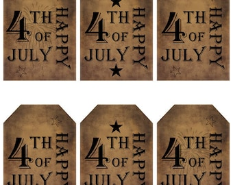 grungy tag set, primitive tags, craft supplies, scrapbooking - Happy 4th of July, fireworks - digital PDF & jpeg - H4JGT02
