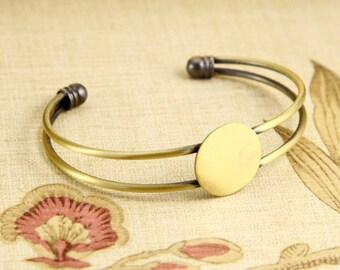 2PCS Brass Antique Bronzed Bracelet with 18mm Round Pad Cabochon Setting BLB02