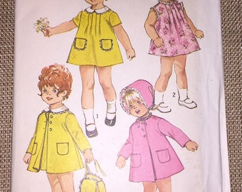 Simplicity 9191 Dress Coat Hat Vintage Sewing Pattern Peter Pan Collar Toddler Size 1 Breast 20