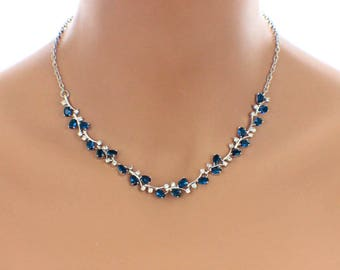 Sapphire blue necklace, blue bridal jewelry, navy blue necklace, navy blue jewelry, blue wedding necklace, something blue, necklace