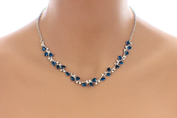 Sapphire blue necklace blue bridal jewelry navy blue