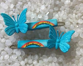 vintage barrette,  butterfly  hair barrette , very 3 d, blue barrette, rainbows and butterflies, rare pair