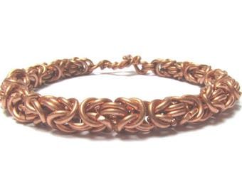 Copper Bracelet for Men, Chainmaille Bracelet for Men, 7 year anniversary gift for him, men's copper jewelry, Men's Heavy Chain Bracelet