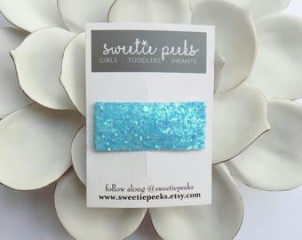 Ocean Blue Glitter Snap Clip | Girls Snap Clip | Glitter Snap Clip | Spring Hair Accessory | Toddler Hair Clip | Simple Hair Clips