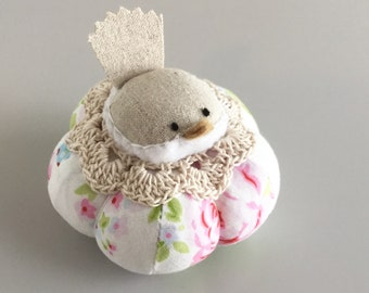 Pink Blue and White Floral Bird Pincushion Cute Bird Pin Cushion Pin Cushion