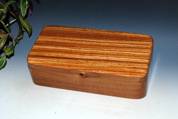 Wood Box With Tray- Zebrawood on Walnut by BurlWoodBox - Wood Jewelry Box, Stash Box - Great Guy Gift - Wooden Jewelry Box, Wood Desk Box