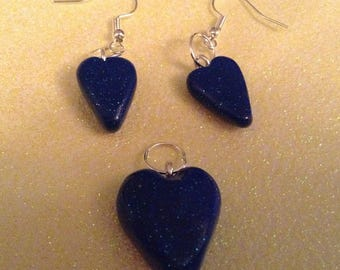 Galaxy blue earring necklace set