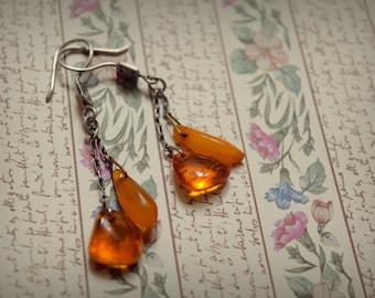 Vintage earrings (baltic amber & silver)