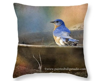 Square Pillow Fine Art Photography Bluebird in a Copper Birdbath RusticElegance Cottage Home Decor