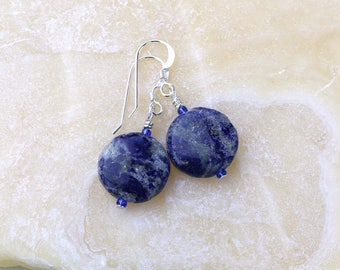 Blue Lapis Earrings- Lapis Lazuli Gemstone Earrings- Sterling Silver- Denim Blue Earrings- Blue Gemstones- Third Eye Chakra- Rustic Gemstone