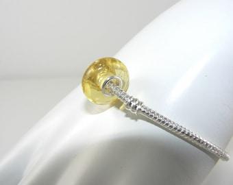 Natural Baltic amber bead charm for Pandora style bracelets, certified Baltic amber, lemon amber, charm for Pandora bracelet