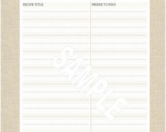"Life's Lists Printable 8.5""x11"" Letter Size Favorite Recipe List"