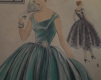 SALE RARE Vintage 1950's Vogue 4418 Special Design Evening Gown Sewing Pattern, Size 16 Bust 34
