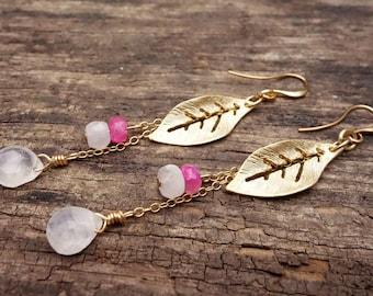 Gemstone Earrings, Dangle Earrings, Statement earrings, boho earrings, simple earrings, bridesmaid gift, gold earrings, minimalist earrings