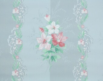 1930s Vintage Wallpaper by the Yard - Pink and White Flowers on Blue Stripes, Floral Wallpaper