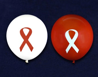 Red Ribbon Balloons in a Bag (25 Balloons)(BAL-6)