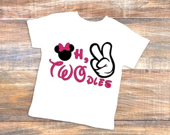 Birthday t-shirt Oh, TWO dles | second birthday | Disney Mickey Minnie Mouse theme | 2 | 2nd birthday t-shirt | oh, Toodles | 2dles