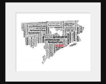 Detroit Map Typography Map Poster Print
