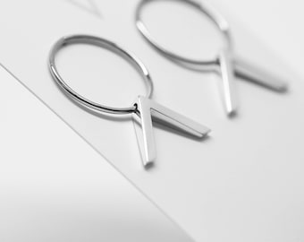 Silver hoop and chevron studs - Sterling silver - Chevron dangle earrings