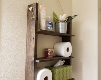 Rustic Shelf made from Reclaimed Wood perfect for a bathroom or anywhere that needs a cute handmade addition 25in. X 18in. X 5.5in.
