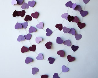 Paper heart garland - Orchid purple violet, Heart garland, Wedding garland, Wedding decoration, Bridal shower decor, Purple wedding,KCO-3032