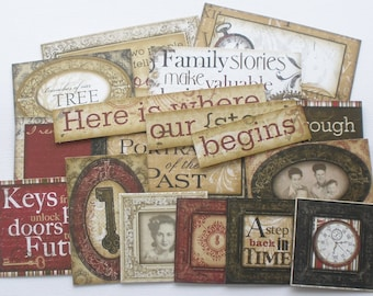 GENERATIONS - Journal Cards - Chipboard Die Cuts - Heritage Pictures & Quote Embellishments - 15 Pieces