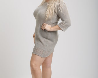 Knitted linen mini summer dress with nice patterns