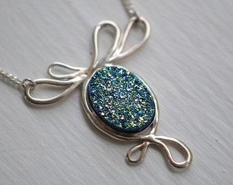 Druzy Necklace, Blue Druzy, Green Oval, Sterling Silver, Drussy, Drusy, Statement Necklace, Handcrafted, Quartz. BELLE EPOQUE Blue Druzy.