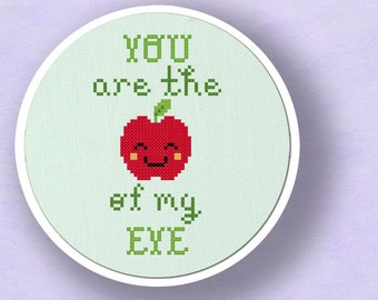 You Are the Apple of my Eye Cross Stitch Pattern. Modern Simple Cute Counted Cross Stitch PDF Pattern Instant Download