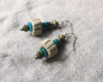 Earrings ethnic style • spinning top made terracotta handmade Chrysocolla jewelry poetic jewelry • • • • handmade • Boho Bohemian jewelry